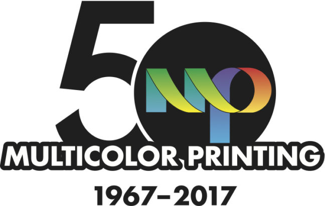 multicolor printing 50th anniversary seal
